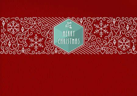 fondo para tarjetas: Feliz Navidad tarjeta de felicitaci�n de las vacaciones en estilo monograma contorno. decoraci�n lineal, Vectores