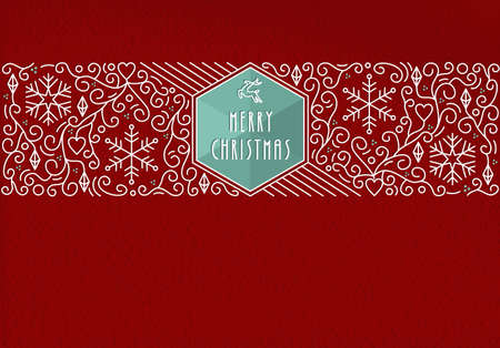 background card: Merry Christmas holidays greeting card in outline monogram style. Linear decoration,