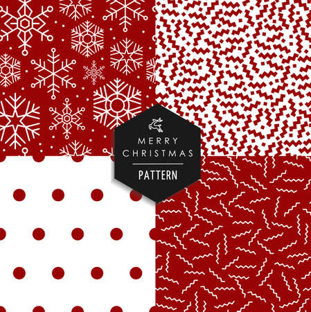 80's: Merry Christmas hipster 80s vintage style seamless pattern set.  Illustration