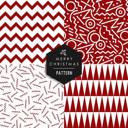 80's: Merry Christmas retro 80s style seamless pattern set.