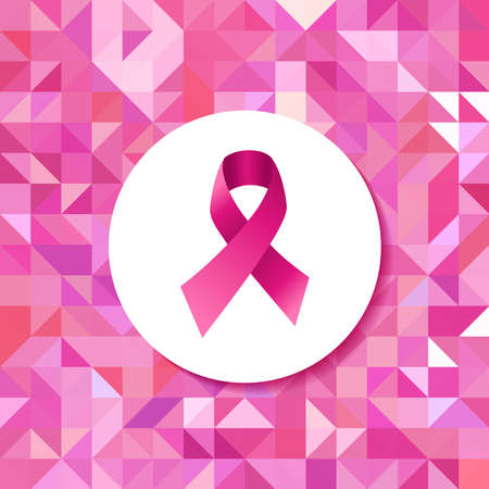 cancer illustration: Breast cancer awareness campaign pink ribbon badge over seamless triangle retro hipster tiled pattern. EPS10 vector file. Illustration