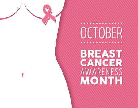 rak: Rak piersi października świadomość kampanii miesięcy plakatu: Znak wstążki i sylwetka kobiety na różowym tle przyczyny. Plik wektorowy EPS10. Ilustracja