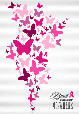 Breast cancer awareness campaign composition: pink butterfly and ribbon elements. Illustration for poster, flyer or website. EPS10 vector file.