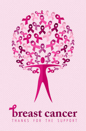 cancer: Breast cancer awareness poster with thanks for the support text and concept woman tree made of pink ribbons. Charity illustration background for your own online campaign. EPS10 vector file.