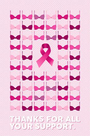 乳房がん啓発キャンペーン ポスター ピンク水玉の背景の上のすべてのサポート テキストのおかげで。センターでブラとリボン要素が含まれていま