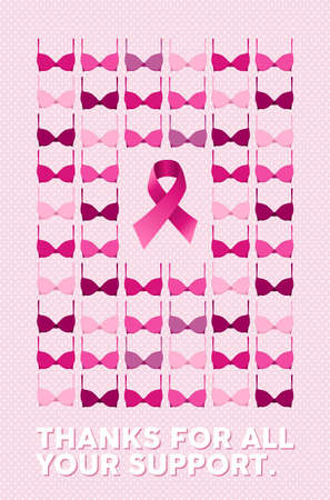 breast: Breast cancer awareness campaign poster with thanks for all your support text over pink dot background. Includes bra and ribbon element on center. EPS10 vector file.