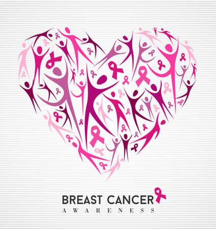 Breast cancer awareness campaign family love design of heart made with pink ribbon elements and silhouettes background. vector file.