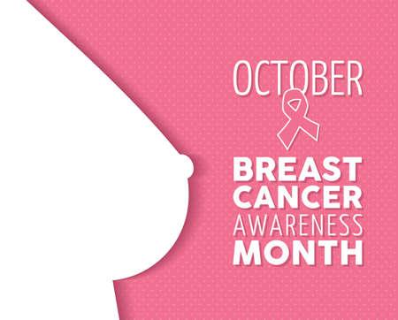 유방암 10월 인식 캠페인 구성 : 여성의 몸의 실루엣과 핑크 폴카 도트 배경에 리본 요소와 텍스트입니다. EPS10 벡터 파일입니다.