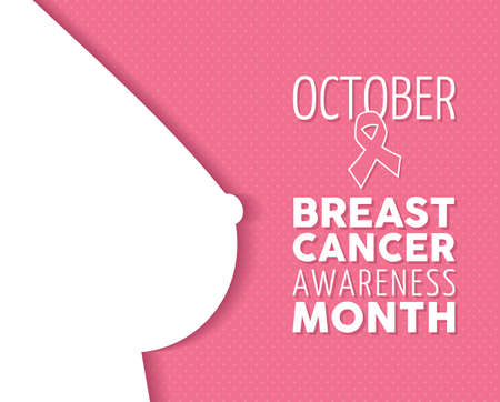 Breast cancer october awareness campaign composition: female body silhouette and text with ribbon element on pink polka dot background. EPS10 vector file. Stock Illustratie
