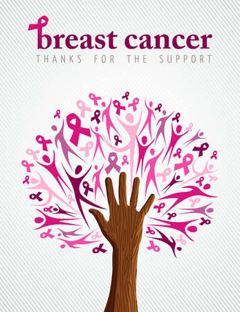 Breast cancer support illustration of tree made with pink silhouette and ribbon collage for poster or campaign. EPS10 vector file. Illustration