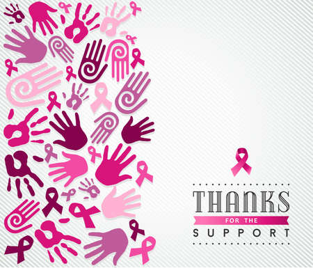 senos: Ilustración Concepto global de apoyo a la colaboración para la atención del cáncer de mama. Mano y la cinta signo en colores rosa. Archivo vectorial EPS10. Vectores