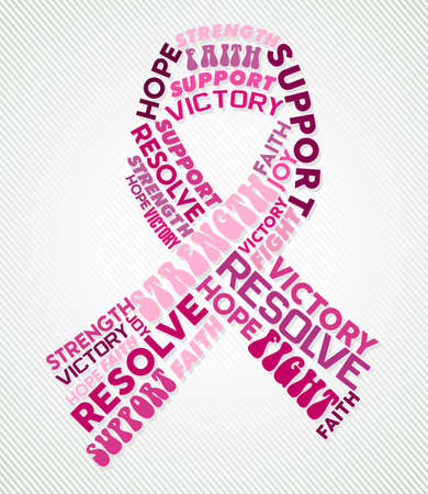 Breast cancer design of pink text cloud ribbon shape with cause related words. EPS10 vector file.