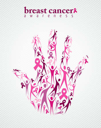 Breast cancer awareness campaign family support concept hand made with pink ribbon elements and silhouettes background. EPS10 vector file. Çizim