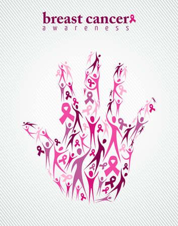 Conciencia del cáncer de mama familiar campaña de apoyo concepto hecho a mano con elementos de la cinta de color rosa y las siluetas de fondo. Archivo vectorial EPS10. Foto de archivo - 44927907