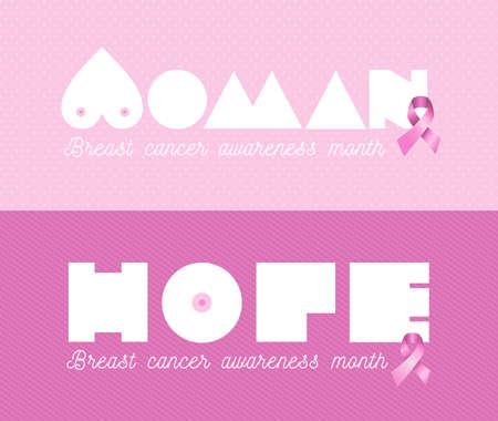 rak: Rak piersi świadomości miesiąc web banner set kobieta nadzieja tekst z różową wstążką tle. Plik wektorowy EPS10.
