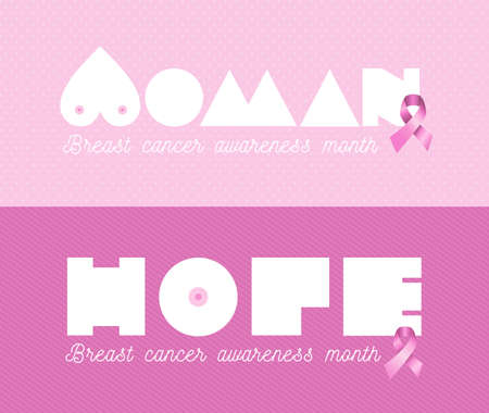 Breast cancer awareness month web banner set woman hope text with pink ribbon background. EPS10 vector file. Illustration