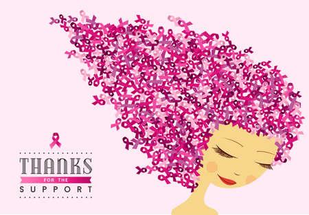 乳がん啓発ピンクリボン髪と健康な女性イラスト デザインは、キャンペーンをサポートします。EPS10 ベクトル ファイル。