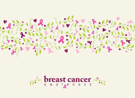유방암 인식 핑크 리본, 심장 모양 및 봄 자연 요소와 원활한 패턴. 벡터 파일입니다.
