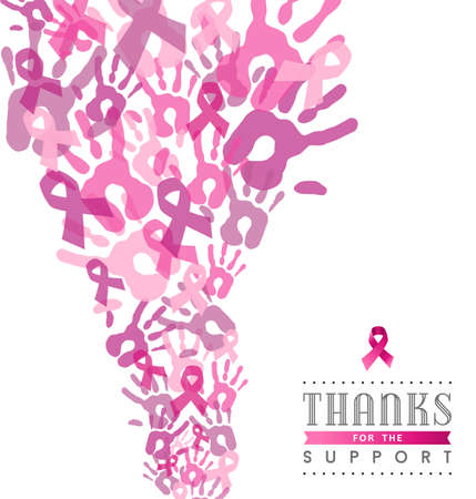 breast: Thanks for the support breast cancer cause with hand and ribbon elements in pink colors.vector file.