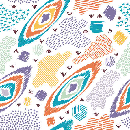 Vintage boho fashion style seamless pattern background with colorful elements. Ideal for fabric design, paper print and web backdrop. EPS10 vector file.