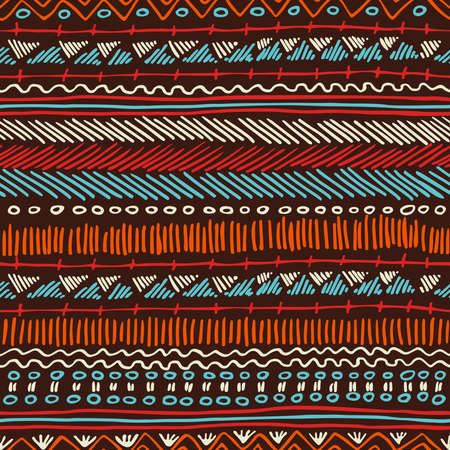 Striped vintage boho fashion style seamless pattern background with tribal shape elements. Ideal for fabric design, paper print and web backdrop. EPS10 vector file.