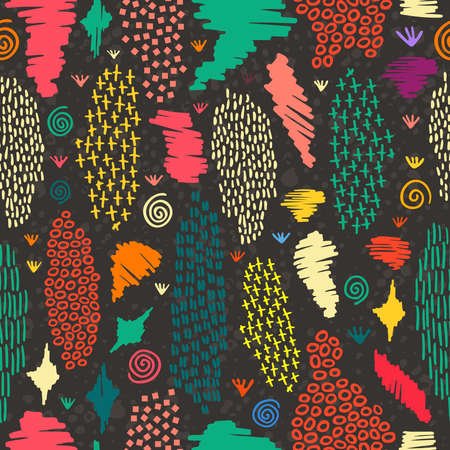 Vintage boho fashion style seamless pattern blackboard background with colorful tribal shapes. Ideal for fabric design, paper print and web backdrop. EPS10 vector file.