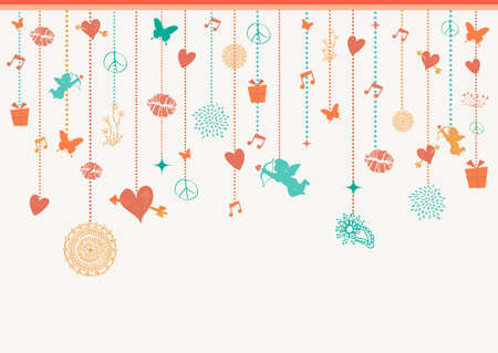 greeting card background: Happy Valentine holidays colorful hanging decoration elements angels, hearts and baubles greeting card background. EPS10 vector file. Illustration