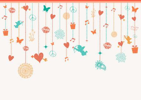 greeting card background: Happy Valentine holidays colorful hanging decoration elements angels, hearts and baubles greeting card background. EPS10 vector file. Illustration