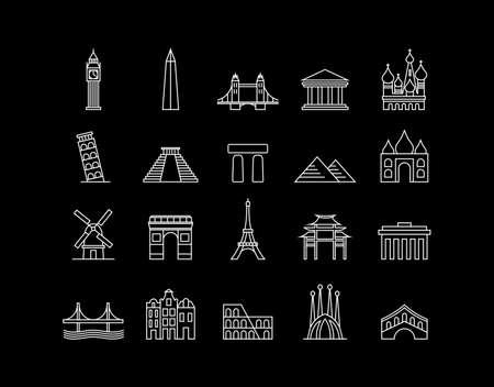 world heritage: World landmark monuments modern line icon set ideal for travel web, app, or online tourism campaign. EPS10 vector file.