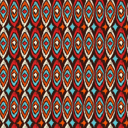 web backdrop: Vintage boho fashion style seamless pattern background with colorful tribal shapes. Ideal for fabric design, paper print and web backdrop. EPS10 vector file.