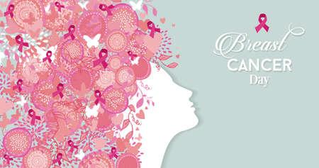senos: Mujer sana cara perfil silueta con símbolos de color rosa de la cinta del pelo y de la naturaleza para el día de la conciencia del cáncer de mama. Archivo vectorial EPS10.