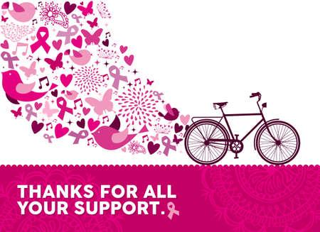 rak: Zdrowy styl życia ćwiczenia projektowe rower z różowymi elementami przyrody i wstążki do wsparcia świadomości raka piersi. Plik wektorowy EPS10.