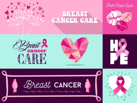 cancer prevention: Flat banner with graphics elements set ideal for social media or online campaign in support of breast cancer awareness: pink ribbon symbol, heart, hope, love and care font text. EPS10 vector file.