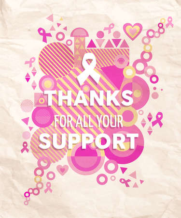 breast cancer awareness ribbon: Breast cancer awareness thanks for your support typography poster with pink geometry shapes, heart and ribbon elements. EPS10 vector file.
