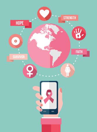 senos: Red móvil concepto infografía en estilo plano de la conciencia del cáncer de pecho con iconos y texto. Ideal para web, aplicación o campaña en línea. Archivo vectorial EPS10. Vectores
