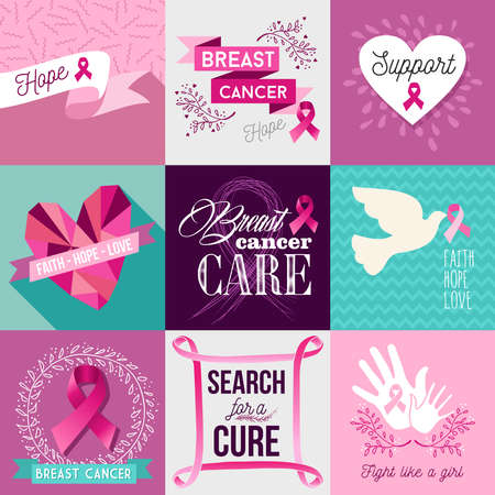 Breast cancer awareness flat illustration graphics elements set with pink vintage symbols and font text. EPS10 vector file.