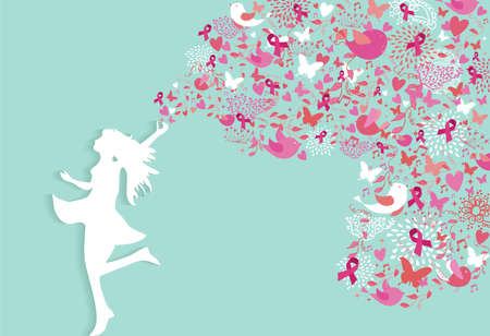 Healthy woman silhouette pink ribbon spring nature symbols in support of breast cancer awareness. EPS10 vector file. Çizim