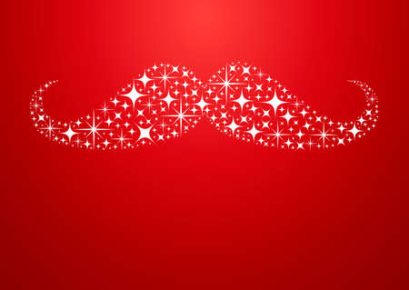 merry chrismas: Merry Christmas and Happy New Year greeting card background with hipster mustache shape sparkle stars design. EPS10 vector file. Illustration