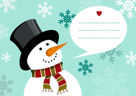 dialog balloon: Snowman illustration wearing hat and scarf with dialog balloon on snowy background for christmas card. EPS10 vector file. Illustration