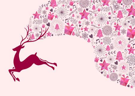 renna: Cartolina di Natale di saluto, renne e gli elementi colorati disegno di sfondo. file vettoriale EPS10. Vettoriali