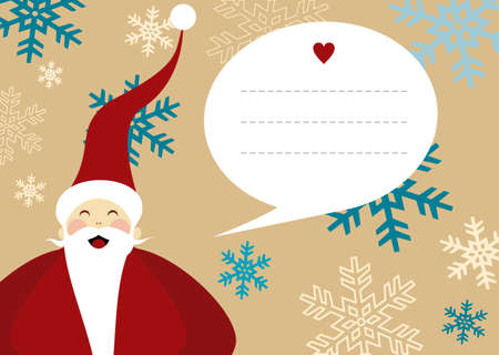 dear: Santa Claus illustration with dialog balloon on snowy background for christmas greeting card. EPS10 vector file. Illustration