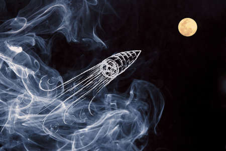 the project: Be creative on your start up project composition with hand drawn space ship launch over night moon sky with smoke background.