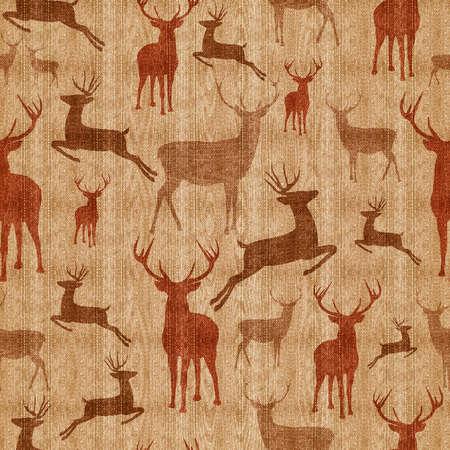 Rendier naadloze patroon Vintage hipster textuur achtergrond ideaal voor kerstmis seizoen, inpakpapier of af te drukken. Stockfoto