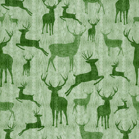 Reindeer seamless pattern vintage hipster green texture background ideal for christmas season.