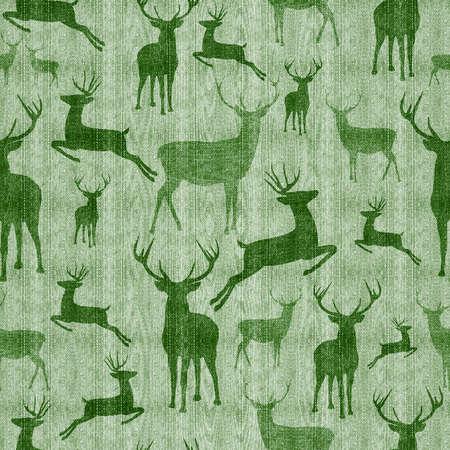 Rendier naadloze patroon vintage hipster groene textuur achtergrond ideaal voor kerst seizoen.