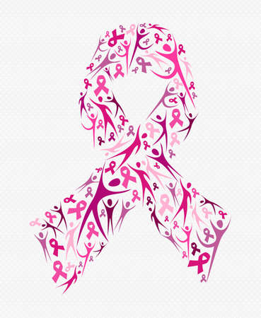 breast: Pink people silhouettes forming ribbon shape for breast cancer awareness. Social support concept illustration. EPS10 vector. Illustration