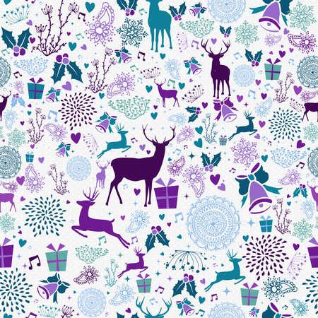 Merry christmas naadloze patroon hipster rendieren en vintage vakantie elementen. EPS10 vector.
