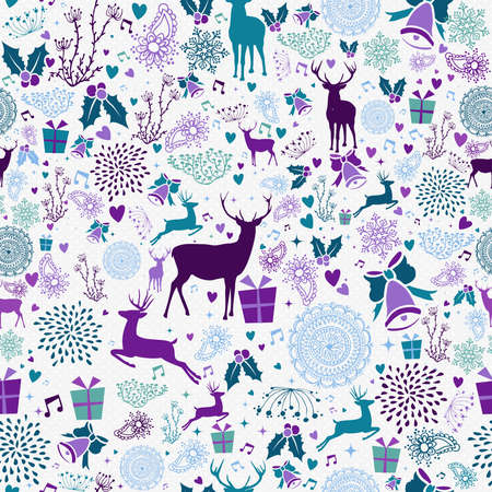 christmas wrapping: Merry christmas seamless pattern hipster reindeer and vintage holiday elements. EPS10 vector. Illustration