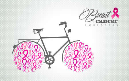 Breast cancer awareness bike illustration poster with pink ribbon icons as bicycle wheels. EPS10 vector.