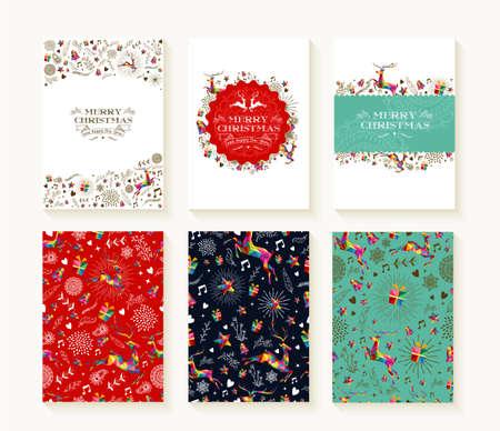 Merry christmas set van naadloze kerst rendieren patronen in kleurrijke laag poly stijl en tekstsjablonen. Ideaal voor vakantie wenskaarten, afdrukken of inpakpapier. EPS10 vector bestand.